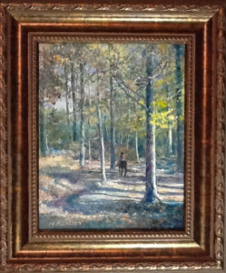 Henry August: painting of a lone horseback rider in a forest of tall trees