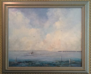 Henry August: painting of a single boat heading out to sea