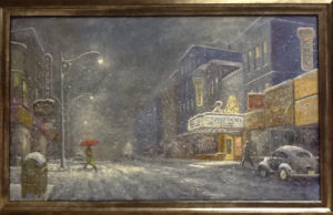 Henry August: painting of a person with a red umbrella walking across a snowy downtown street in a quaint town