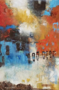 Gina Battle: abtract painting with oranges, yellows, blues, black and white
