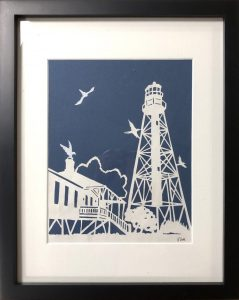 lighthouse in navy blue and white