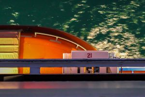 photograph of an orange lifeboat