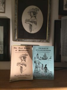 framed pen and ink drawing and two book covers - by Lee Blizard