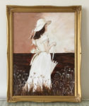 painting of a woman in a white dress by Lee Blizard