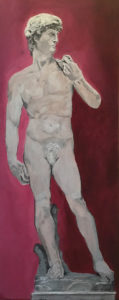 painting of Michelangelo's statue of David on a fuschia background by Lee Blizard