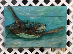 acrylic painting of a Sea Turtle on wood