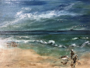 painting of birds on the ocean shore by Donna Dinneen