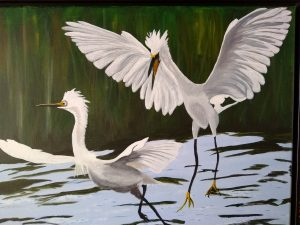 painting of two white egrets