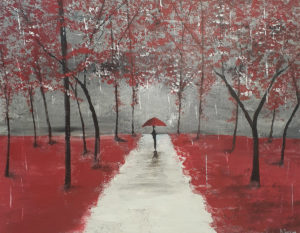 painting of a figure with red umbrella standing in the midst of red vegetation