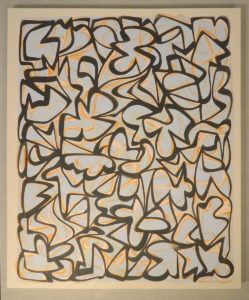 Erik Groff: abstract painting with black lines and pale colors, horizontal