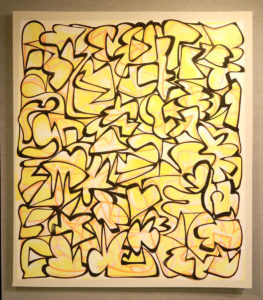 Erik Groff: abstract painting with black lines and yellow tones, vertical