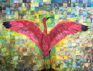 painting of pink bird with mosaic background