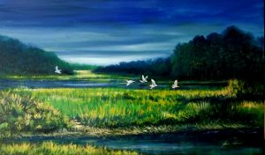painting of herons flying over marshes