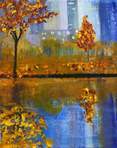This impressionistic mixed media painting brings back memories of strolling along the central park's lake path on a glorious fall day.