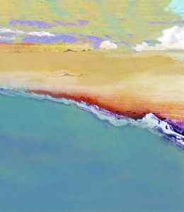 macro photograph and digital painting of a beach