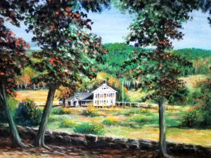 Larry Palmer: painting of a house between the trees