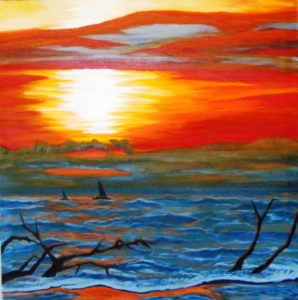 painting of a red and orange sunset over the ocean by Karen Wood