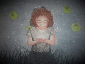 Karen Wood: painting of a little girl holding a firefly