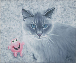 painting of a gray cat with a pink toy by Karen Wood