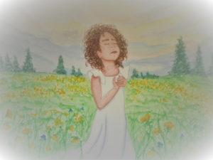 watercolor painting by Karen Wood of a little girl in a field of flowers with her hands on her heart and her eyes closed