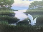 Lee Jones: In the Swamp; a painting of a white bird in a swamp