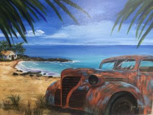 Lee Jones: painting of an old junker car on a tropical beach