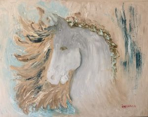 abstract painting of a white pony