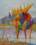 Kathy Przepadlo: multi-colored elk wading in a mountain stream