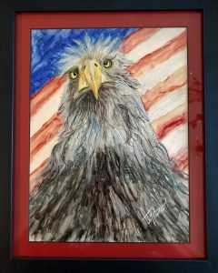 painting of an eagle against the US flag