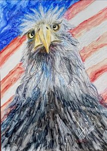 painting of eagle with American flag