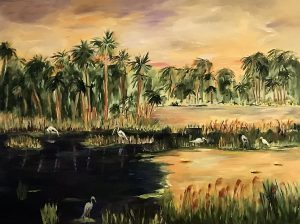 painting of an Everglades landscape with wading birds