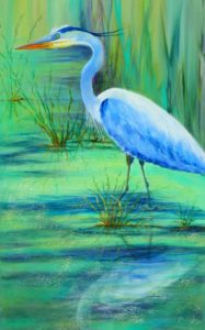 painting of a blue heron in a marshy setting by Gloria Urban