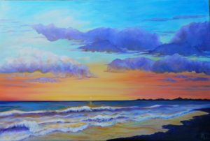 painting of a sunset on the beach by Gloria Urban