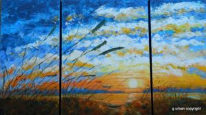 painting of a sunset on the beach with sea oats by Gloria Urban