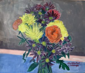 still life painting of a vase with flowers by Carolyn Walega