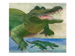 painting of a gator with two baby gators by Carolyn Walega