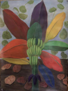 painting of a plant with colorful leaves by Carolyn Walega