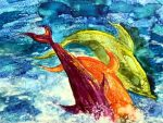 Rosana Halprine: Dancing Dolphins II -painting of colorful dolphins