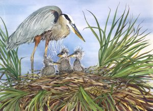 painting of a heron with nest of baby herons