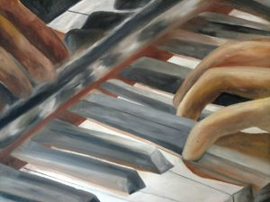 painting of a hand playing piano keys