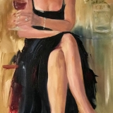 painting of a woman in a black dress and a red hat holding a glass of red wine
