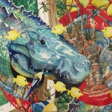 Robert Broyles: colorful painting of an alligator surrounded byb yellow fish, a lobster, lemons and a pelican