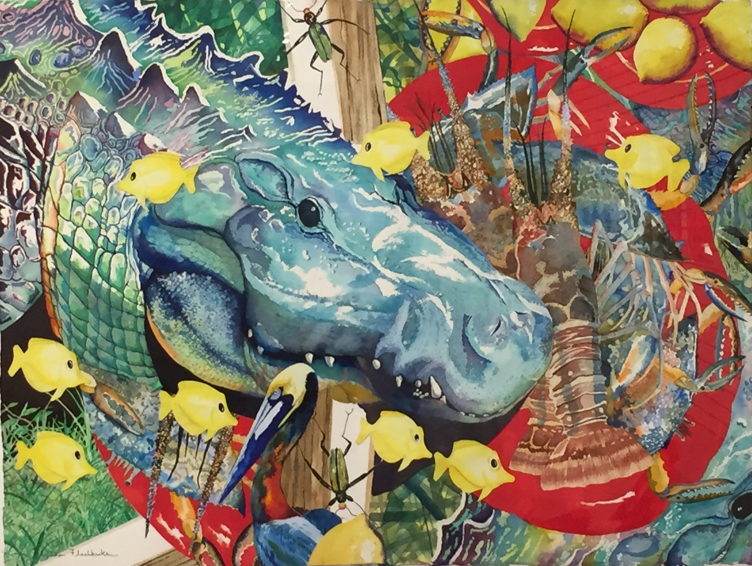 colorful painting of an alligator surrounded byb yellow fish, a lobster, lemons and a pelican