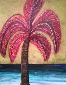 painting of a palm tree with pink branches