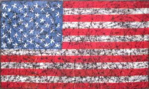 painting of a distressed American flag