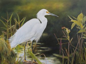 painting of a snowy egret in greenery