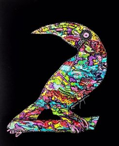 abstract painting of a colorful bird