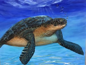 painting of a sea turtle underwater