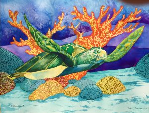 paitning of a sea turtle and coral