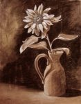 painting of flowers in a vase in sepira tones